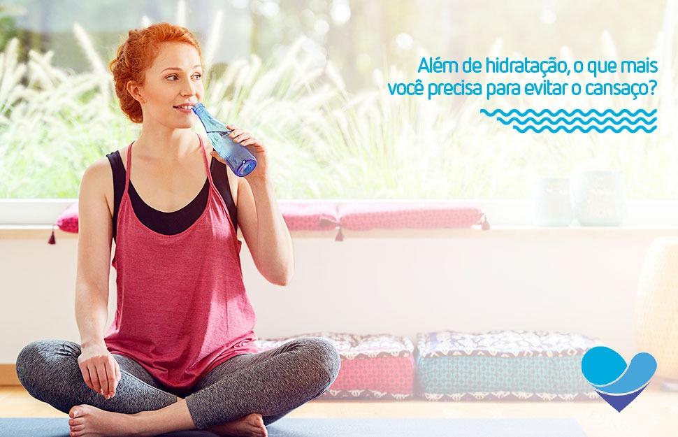 Imagem de capa com os dizeres beba muita água e evite o cansaço